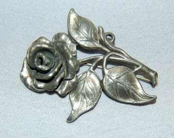 Vintage / Large / Antique / Brooch / Rose / Flowers / Silver / Metal / C Clasp / Victorian / old jewelry