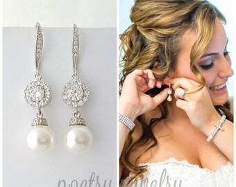 Ivory Pearl Wedding Earrings Crystal Bridal Pearl Drop Earrings Silver Swarovski Pearl Wedding Earrings Wedding Jewelry, Alena