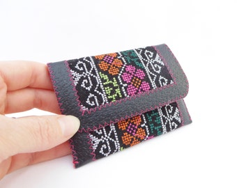 Slim Leather and Fabric Wallet / Business Card Holder / Black Leather and Embroidered Ribbon