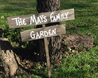 Personalized Name Family Garden Wood Sign On Stake Rustic Directional