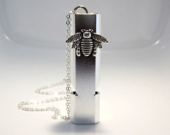 Bee Whistle Necklace, Silver Aluminum Alloy, Water Resistant, Self Protection Devise, Camping Hiking, Emergency Locator, Fathers Day