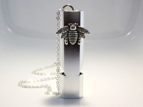 Bee Whistle Necklace, Silver Aluminum Alloy, Water Resistant, Self Protection Devise, Camping Hiking, Emergency Locator