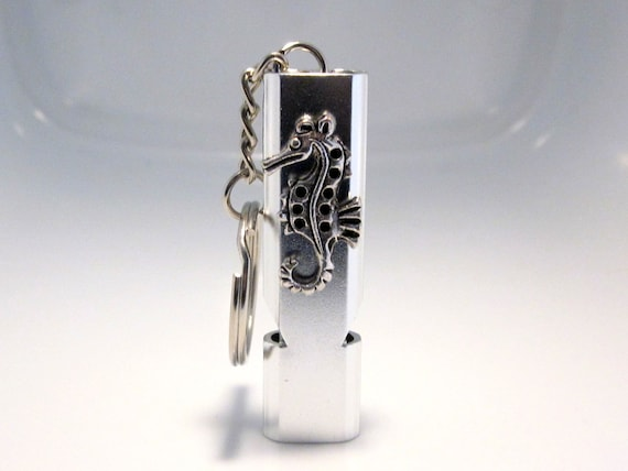 Silver Seahorse Keychain Whistle