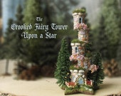 The Crooked Fairy Tower Upon a Star - Miniature Stone Five Level Tower with Grassy Rooftops, Blooming Flower Boxes, Pine Trees & Wildflowers
