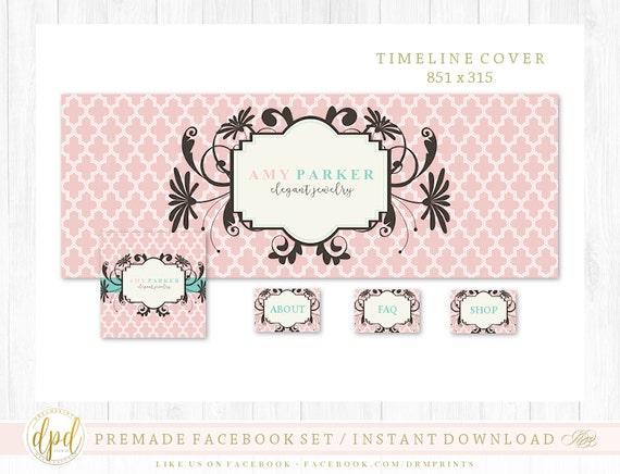 Premade DIY Facebook Set | Facebook Timeline | Facebook Package | Facebook Graphics | Business Branding | INSTANT DOWNLOAD-AA321