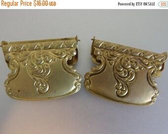 ON SALE Cute Vintage Stamped Brass Scarf Clips