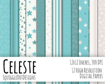 Digital Printable Background Paper Featuring Stars for Web Design, Crafts, and Scrapbooking Set of 12 - Celeste - in Blue, Grey, and White