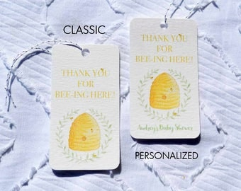 Printable Bee Baby Shower Favor Tags - Classic and Personalized Options