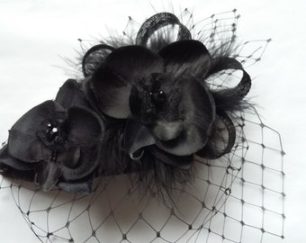Black Merry Widow Veil Orchid Flower & Crystal Teardrop 'Charlotte' Gothic Vintage Style Wedding Fascinator Mini Hat - Ready Made