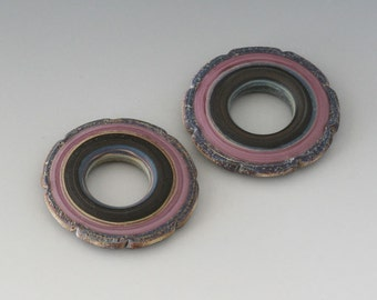 Rustic Ruffle Discs - (2) Handmade Lampwork Beads - Lavender, Black