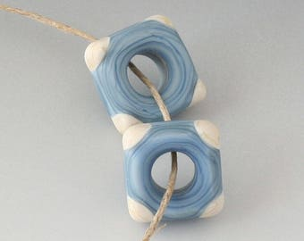 Southwest Disk Pairs- (4) Handmade Lampwork Beads - Denim Blue, Cream - Etched, Matte
