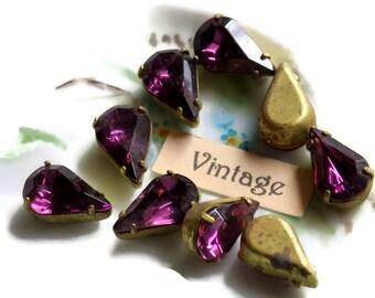 Vintage Rhinestones Amethyst Prong Pronged Setting Lot Pear Shape 13x8mm Tarnished 912b