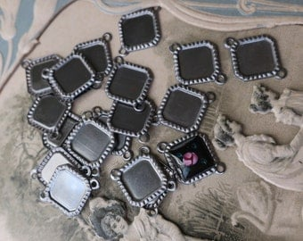 Square Connectors Vintage metal Settings Setting Silver 7mm Cabs Findings Jewelry Supplies #812C