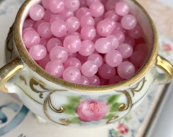 Shabby chic beads,Vintage Glass Beads,Pink Shabby Beads,Pastel Pink Beads,Cottage Chic,6mm beads,opaque pink beads #1707