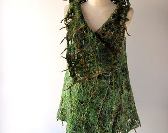 Green Felted vest, Wool Reversible vest,  one of a kind vest , Lace women vest , women wool vest lace scarf , Green felted tunic
