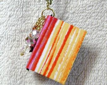 Teacher Gift - Handmade Book Necklace - Book Jewelry - Book Pendant - Book Journal - Handmade Book - Stripped Fabric - BN-25
