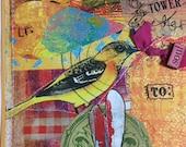 Mixed Media art, Mail art, Happy Mail, altered art, ORIGINAL, OOAK ART