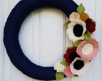 Fall wreath, yarn wreath, wildflower wreath, yarn wrapped wreath, navy wreath,wool felt flower wreath,home decor,wedding gift, wedding decor