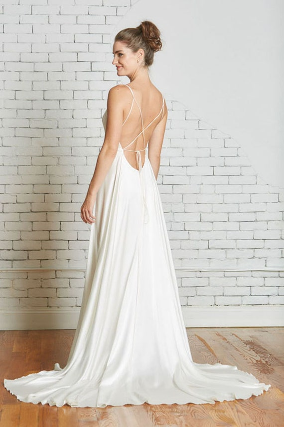 Silk Charmeuse Wedding Gown With A Strappy Low Back Flowing Skirt The Corey CUT TO ORDER