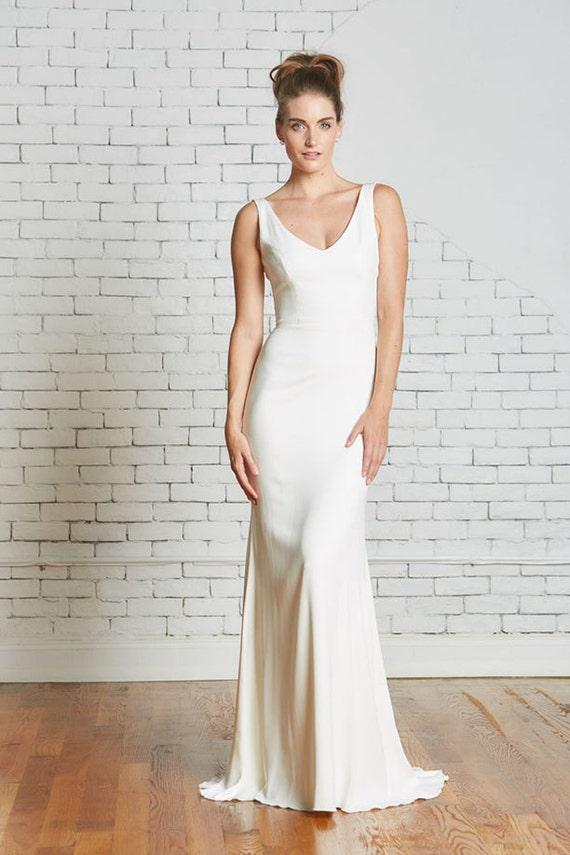 "Silk Crepe bridal gown, the ""Parker"" CUT TO ORDER"