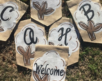 Cotton  Boll with Initial BURLAP yard garden flag Summer Spring Southern Welcome