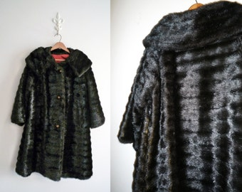 Vintage Black Faux Mink Fur Coat Union Made in USA Large Collar and Buttons