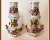 Pair of Mini Oil Lamps, Royal Crown, Courting Couple, Fragonard, Gold Gilt, Iridescent, Victorian, Hand Painted, Vintage 1970's