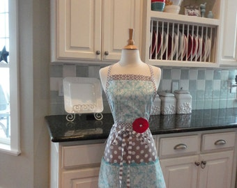 "Soft Blue Damask - Cute for Valentines and  Year Round-  ""Barbie Style Pockets & More""  Women's Apron - 4RetroSisters"
