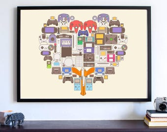 Video Gamer Art Print, Xbox One Game Controllers Poster, Man Cave Decor, Nintendo NES Heart, Video Game Decor Art, Gamer Birthday Gift Decor