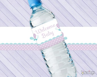 Butterfly Baby Shower Water Bottle Labels - Purple and Turquoise Baby Girl Shower DIY Decor - PRiNTABLE INSTANT DOWNlOAD