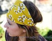 Gift for Her, Mustard Yellow Headband, Cotton Headscarves, Retro Headwrap, Yellow Fabric Headband (#4216) S M L X