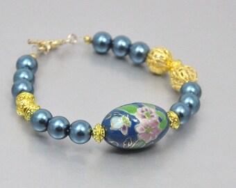 Vintage Bead Bracelet and Earring Set Teal Cloisonne Gold Filigree