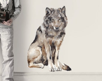 Wolf Wall Decal, Fabric Wall Sticker ( Not Vinyl, PVC free )