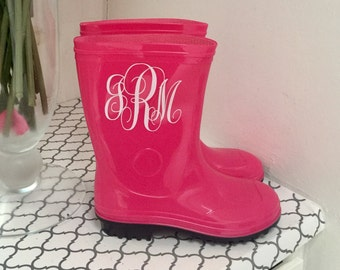 Girls Rain Boots Pink Personalized Monogrammed Rain boots ~Valentine Gift, Toddler, Girls, Kids, Spring, Birthday,Waterproof, Shoes, Gift