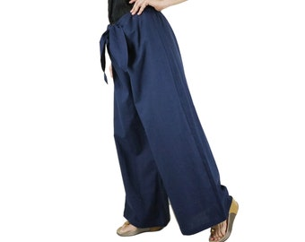 Funky Boho Hip Dark Navy Blue Cotton Mix Linen Wide Legs Front Tie Women Pants With Elastic On Back Waist - SM704