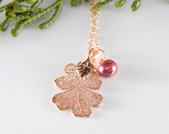 Small Rose Gold Oak Leaf Pendant on 18 inch Chain Necklace