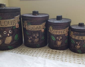 Vintage Ceramic Canisters, Woodland Owl Tree Canisters, Kitchen Storage