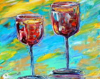Wine Time original oil painting abstract palette knife impressionism on canvas fine art by Karen Tarlton