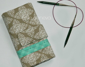Interchangeable Knitting  Case - Natural Sand Taupe and Aqua Lace - Orange Coral - Ready to Ship
