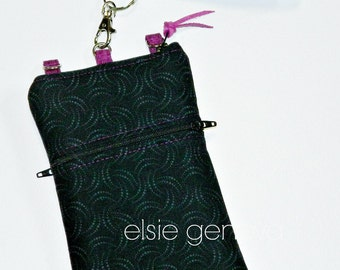 Black & Magenta Phone Case with Wrislet and/or Optional Cross Body Shoulder Strap - Solid Swirls -  iPhone 6 7 Plus Samsung Note