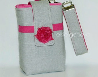 Camera Case Choose Any Fabric in My Shop or Grey Linen & Hot Pink Bodacious with Rosette -  Wristlet  Optional Shoulder Strap Boxed Bottom