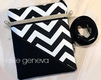 Chevron iPad Purse Black and White Chevron and Gold Metallic Accents - Optional Wrist Strap or Cross Body Shoulder Strap