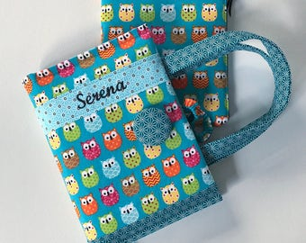 Owls Bible Cover with Optional Zipper Pouch Blue Pink Orange - Made to Order - Personalized