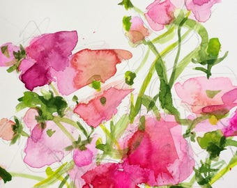 Ranunculus no. 2 Original Watercolor Painting by Angela Moulton 8 x 10 with 11 x 14 inch Mat