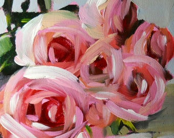 Pink Roses on the Table Floral Art Print by Angela Moulton 8 x 10 inch