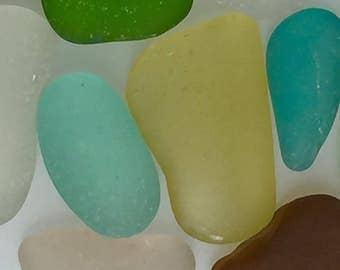 Beach Glass Sea Glass of  Hawaii beaches YELLOW! OCEAN BLUE! 4 Pendants!  Bulk sea glass! Sea Glass Bulk!
