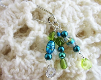 Blue Bead Shawl Pin - Lucky Coin Brooch Pin - Beaded Scarf Brooch - Silver Coin