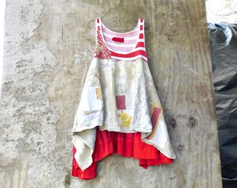 Upcycled Dress, Recycled Clothing, Reclaimed Clothing, Red, Patchwork Clothing, Wearable Art, Summer, Spring, Fun Clothes, Eco, Funky
