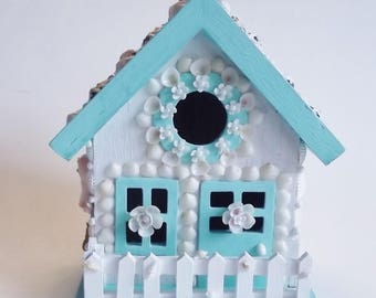 Beachy Birdhouse, Seashell Embellished Birdhouse, Turquoise , Pink