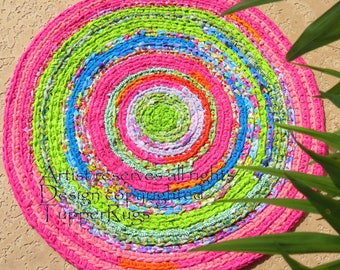 "rag rug ""braided"" crochet Lilly Pulitzer inspired beach decor, shabby chic or boho nursery rug hot pink, lime green, custom rug, nursery rug"